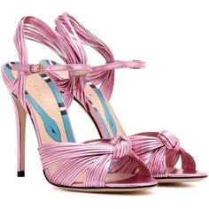 1c65a68ba Gucci - Leather sandals - Opt for an oh-so-girly look with Gucci s metallic  pink leather sandals. The strappy style is knotted…