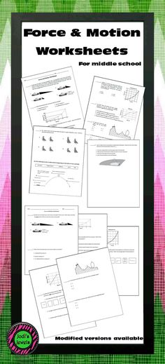 Force & Motion worksheets for middle school students include interpreting data, calculating speed and average speed, and analyzing motion graphs. Created for an introduction to force & motion. Modified versions are available. Visit Jodi's Jewels today!