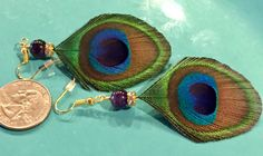 #wildermans handmade #small #peacock #featherearrings #etsy