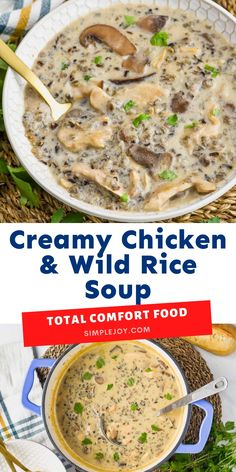 This Creamy Chicken and Wild Rice Soup is the definition of comfort food! Full of delicious, rich, earthy flavors and easy to make, it is filling and perfect for your next dinner recipe! Great Recipes, Soup Recipes, Vegetarian Recipes, Recipies, Dinner Recipes, Healthy Summer Recipes, Healthy Food, Yummy Food, Chicken Wild Rice Soup