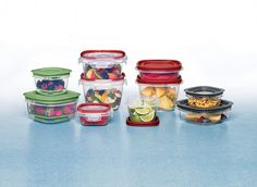 The Easy Find Lids food storage system consists of Produce Saver, Lock Its, Easy Find Lids  Premier