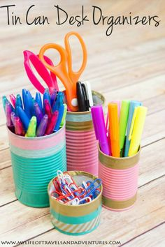Desktop organization, office organisation, tin cans, deco kids, pencil hold Diy And Crafts Sewing, Crafts To Sell, Arts And Crafts, Diy Crafts, Crafts For Teens, Diy For Kids, Deco Kids, Ideas Para Organizar, Ideias Diy
