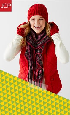 Stay warm and looking cool with a puffer vest and a pop of color! Slip one over a long-sleeve shirt and finish the look with a soft and sweet scarf. When it's extra chilly out, a matching beanie and mittens set makes wrapping up in cuddly cuteness a breeze!