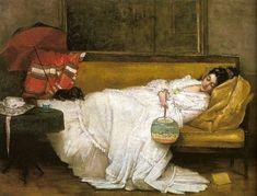 Girl in a White Dress Resting on a Sofa - Alfred Stevens (Belgian, Alfred Stevens, Victorian Paintings, Victorian Art, Manet, Art Gallery, Sleeping Women, Western Art, Woman Painting, Beautiful Paintings