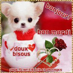 Bonjour ! Bon mardi ! Doux bisous #mardi chien chiot mignon rose fleur coeur scintillement paillettes