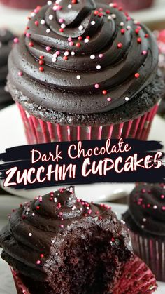 Cupcake Recipes, Baking Recipes, Cupcake Cakes, Dessert Recipes, Chocolate Zucchini Cupcakes, Chocolate Desserts, Chocolate Frosting, Just Desserts, Delicious Desserts