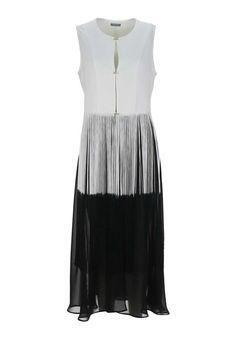 Naya Fringed Full Length Jacket, White and Black | McElhinneys Department Store