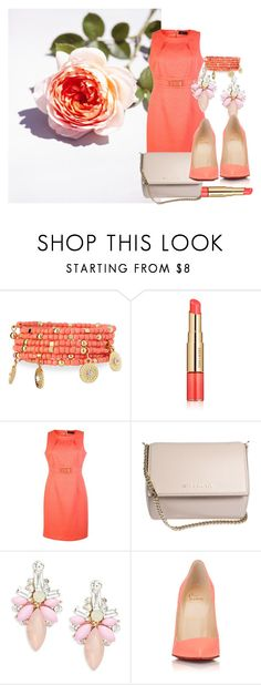"""""""Coral Rose"""" by bootsiestyle ❤ liked on Polyvore featuring Emily & Ashley, Estée Lauder, Tahari by Arthur S. Levine, Givenchy, Cara and Christian Louboutin"""