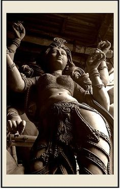 "'Durga statue' in West Bengal photographed by Celina Mahek. ""Durga - Invincible, destroyer of all evil and diseases - she is the embodiment of 'Shakti', a culmination of the powers vested in the Hindu Gods."" via celinamahek on trek earth Sacred Feminine, Divine Feminine, Ancient Aliens, Religions Du Monde, Statues, Art Magique, Durga Goddess, Indian Goddess, Durga Maa"