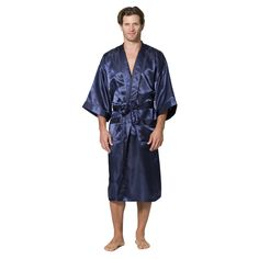 "Made from soft silky polyester charmeuse, these robes have the look and feel of silk, yet they are machine washable and virtually care free. The length of this robe is 48"" at the center back, which pl"