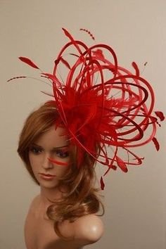 Large Red Fascinate Fascinator Hat/change to any colours or add extra colours