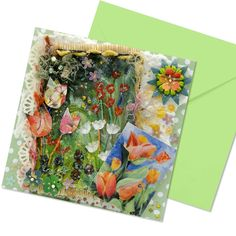 An exclusive greetings card with a hand painted fabric panel of a Tulip Garden. Mounted on a green polka dot surround with matching green envelope. This card has been highly embellished with a print of a tulip watercolour painting, hand embroidery, paper lace, fancy yarns, handmade paper, gems, and mulberry flowers all with added sparkle. Absolute luxury. Hand Painted Fabric, Mixed Media Cards, Fabric Painting, Watercolour Painting, Tulips Garden, Paper Lace, Unique Cards, Fabric Panels, Colorful Flowers