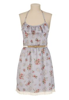 Belted Ruffle Back Lace Trim Floral Dress