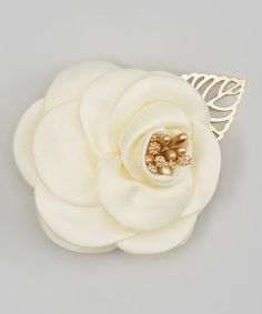 Look what I found on #zulily! Cream Satin Rose Hair Clip #zulilyfinds