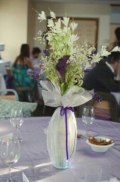 tulle centerpieces vase vases centerpiece decorations arrangements flower tables flowers shower wrapped