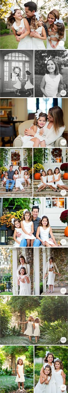 Classic dresses and casual style pictures - love the cream and white family portrait outfits on the children! It's not common to see kids in the same outfits anymore, but it's timeless and darling on these sisters! | Lark Westlake, Austin Portraits #fallportraits #familypicturesautumn #familypictures