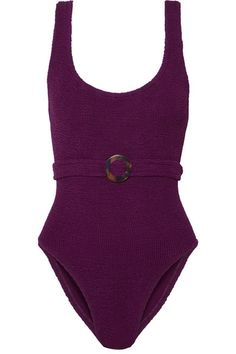 Plum seersucker Pulls on 85% nylon, 12% elastane Hand wash Designer color: Blackberry Lotion, sunscreen, oil and chlorine can cause discoloration of this item; this is not a manufacturing defect. Please follow care instructions to keep your swimwear in the best condition Made in the UK