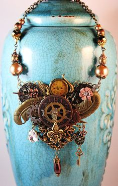 Steampunk Necklace  Dragons & Fleur De Lis by AngelaVenableArt, $90.00