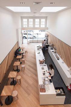Shop + sf modern cafe saint frank coffee in san francisco restaurant カ ウ ン Cafe Restaurant, Restaurant Design, Restaurant Ideas, Modern Restaurant, Restaurant Chairs, Cafe Shop Design, Coffee Shop Interior Design, Modern Interior Design, Small Cafe Design