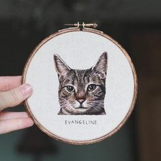 Emillie Ferris is a British artist who uses contemporary embroidery methods to create original hand embroidered hoopart & custom pet portraits Hand Embroidery Designs, Diy Embroidery, Cross Stitch Embroidery, Embroidery Patterns, Portrait Embroidery, Contemporary Embroidery, Thread Painting, Dog Crafts, 21st Gifts