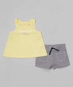 Look what I found on #zulily! Yellow Logo Tank & Geometric Shorts - Infant, Toddler & Girls by Calvin Klein Jeans #zulilyfinds