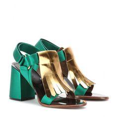 Marni Edition - Sandales en satin et cuir métallisé