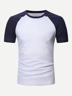 1aa928d83 Men Stitching raglan sleeve TeeFor Women-romwe White Casual