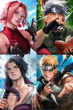 Sakura haruno Sasuke Uchiha Kakashi Sensei e Naruto Uzumaki