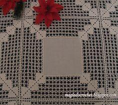 Magia Do Crochet: Linho E Crochet. Crochet Square Patterns, Crochet Motifs, Crochet Borders, Crochet Fabric, Crochet Flowers, Crochet Lace, Tablecloth Fabric, Crochet Tablecloth, Filet Crochet