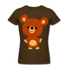 A cute, curious and friendly little bear cub :)  Un ourson gentil, curieux et amical :)  Ein freundlicher kleiner Bär :)  Women's T-Shirts, brown.