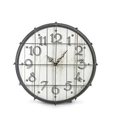 """Metal and Wooden Wall Clock 22"""" H"""
