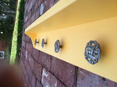 NEW... Bright yellow Shelf, with 4 cool knobs. This item is ready to ship.. on Etsy, $40.00