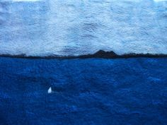 Handfelted Seascape Wallhanging 'Bayside View' by knitonefelttwo