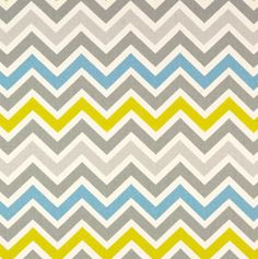 """""""Mini Chevron, Sky""""  #toniclivingdreamroom #homedecor The combo of greys mixed with the brightness of the blue and yellow/green make this fabric one of my favourites"""