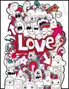 doodle art love by Ghem Doodle Monster, Kawaii Doodles, Cute Doodles, Graffiti, Doodle Drawings, Easy Drawings, Doodle Characters, Easy Doodle Art, Doodle Art Journals