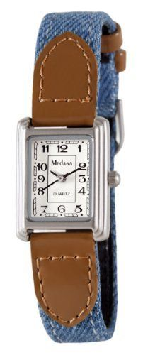 Medana Women's Silver-Tone Denim Strap Watch # 6430SX Medana. $11.95. Includes limited lifetime warranty and gift box. Precision Japanese quartz movement. Blue denim strap. Glossy brown faux leather end pieces. Stainless steel caseback
