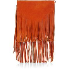TOPSHOP Premium Suede Fringe Shoulder Bag (150 CAD) ❤ liked on Polyvore featuring bags, handbags, shoulder bags, topshop, orange, orange handbags, genuine leather shoulder bag, suede fringe handbag, shoulder strap handbags and leather purse