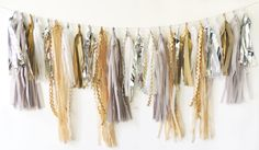 Tissue Tassel Garland in Fancy Neutrals, 25 Tassels