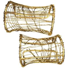 1980s Pair of Gold-Tone Wire-Wrapped Art-To-Wear Cuffs | From a unique collection of vintage cuff bracelets at https://www.1stdibs.com/jewelry/bracelets/cuff-bracelets/