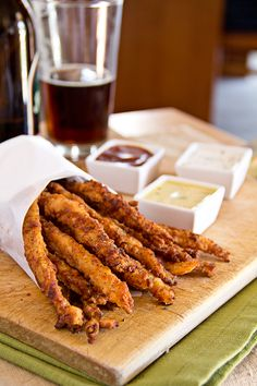 Crispy Chicken Stix with 3 Dipping Sauces