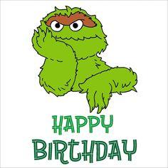 Oscar The Grouch Hand Drawn Birthday Card £1.75