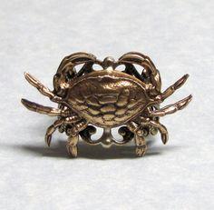 Sea Crab Nautical Ring. Beautiful