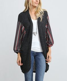 Look at this Flying Tomato Charcoal Stripe Open Cardigan on #zulily today!