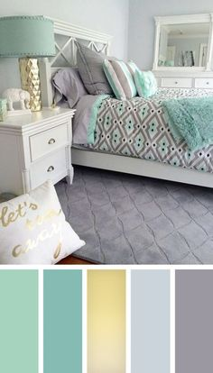 12 gorgeous bedroom color schemes that will give you inspiration for your next bedroom remodel - Decoration Ideas 2018 - Schlafzimmer Best Bedroom Colors, Bedroom Color Schemes, Colour Schemes, Turquoise Color Schemes, Decorating Color Schemes, Colors For Bedrooms, Color Combinations, Relaxing Bedroom Colors, Interior Design Color Schemes
