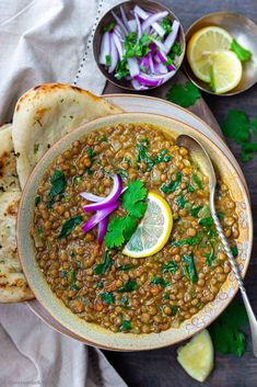 Whole Masoor Dal Palak Soup with side of Naan and some pickled onions!!  #indianfood #lentilsoup #veganfood #instantpot #glutenfreerecipe Vegan Indian Recipes, Vegan Recipes, Ethnic Recipes, Masoor Dal, Cooking Tomatoes, Dried Mangoes, Lentil Curry, Pickled Onions, Chapati