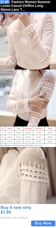 Women Tops Blouses: Fashion Women Summer Loose Casual Chiffon Long Sleeve Lace T Shirt Tops Blouse BUY IT NOW ONLY: $1.99
