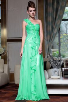 Exquisite One Shoulder Tencel  Floor Length Prom Evening Dress $242.99