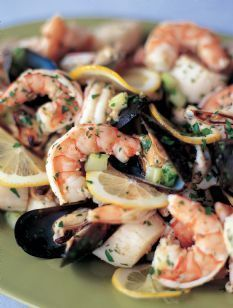insalata di mare, a lemony marinated seafood salad with shrimp
