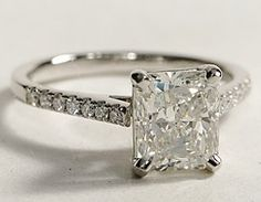 Petite Cathedral Pave Radiant Cut Diamond Engagement Ring