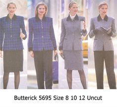 Butterick+5695+Uncut+Sewing+Pattern+Misses+Jacket+Skirt+Pants+Size+8+10+12+Jessica+Howard